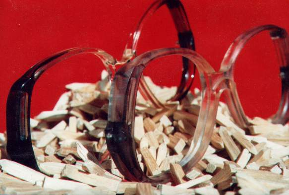 Dry process finishing of eyeglass frame components
