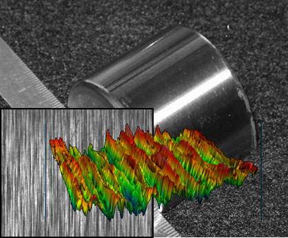This photo shows bearing surface as seen by 2D and 3D scanning measurement.  The surface peaks and asperities are typical of machined or ground surfaces.